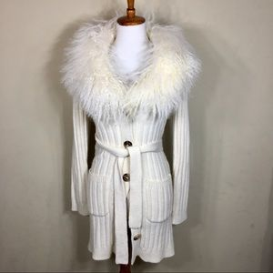 Michael Kors White Ribbed Faux Fur Collar Sweater